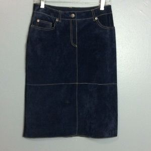 Isaac Mizrahi Ladies Blue Suede Leather Skirt Sz 4